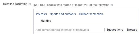 target hunting interest on facebook