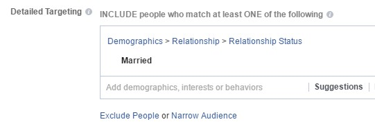 Facebook ad targeting setting for relationship status of married