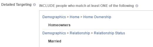 Facebook Ad targeting setting married homeowners