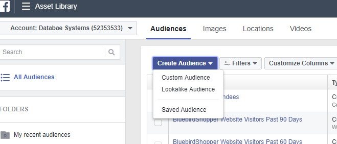 Facebook ads manager - create audience screenshot